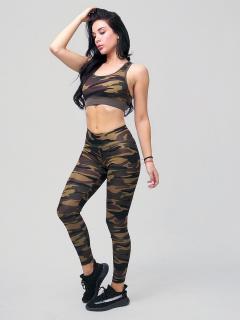 Женский всесезонный костюм для фитнеса цвета хаки купить оптом в интернет магазине MTFORCE 212906Kh