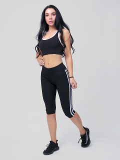 Женский всесезонный костюм для фитнеса черного цвета купить оптом в интернет магазине MTFORCE 212908Ch