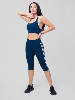 Женский всесезонный костюм для фитнеса темно-синего цвета купить оптом в интернет магазине MTFORCE 212908TS