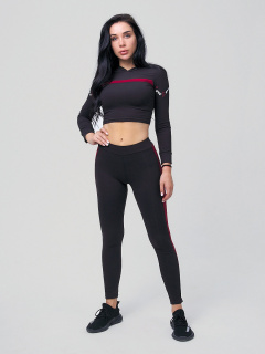 Женский всесезонный костюм для фитнеса черного цвета купить оптом в интернет магазине MTFORCE 212912Ch