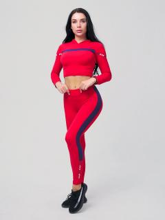 Женский всесезонный костюм для фитнеса красного цвета купить оптом в интернет магазине MTFORCE 212912Kr
