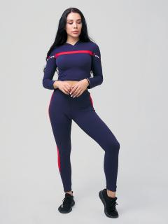Женский всесезонный костюм для фитнеса темно-синего цвета купить оптом в интернет магазине MTFORCE 212912TS