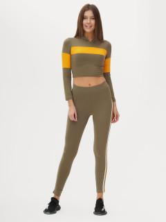 Спортивный костюм для фитнеса женский цвета хаки  купить оптом в интернет магазине MTFORCE 212914Kh