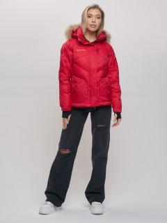 Купить оптом женскую зимний пуховик еврозима красного цвета в интернет магазине MTFORCE 22107Kr