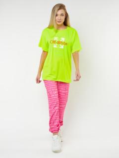 Купить костюм джоггеры с футболкой женские оптом от производителя в Москве 222109Sl