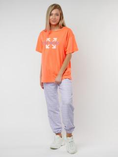 Купить костюм джоггеры с футболкой женские оптом от производителя в Москве 222109P