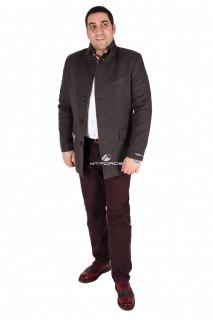 Купить оптом полупальто мужское серого цвета M23Sr в интернет магазине MTFORCE.RU