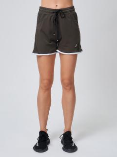 Спортивные шорты женские летние большого размера цвета хаки купить оптом в интернет магазине MTFORCE 212312Kh