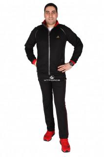 Купить оптом спортивный костюм мужской черного цвета 23157Ch в интернет магазине MTFORCE.RU