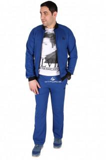 Купить оптом спортивный трикотажный костюм мужской синего цвета 23178S в интернет магазине MTFORCE.RU