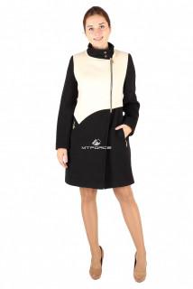 Купить оптом пальто женское черно-белого цвета 254-1ChBl в интернет магазине MTFORCE.RU