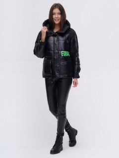 Купить оптом женскую зимнюю модную куртку черного цвета в интернет магазине MTFORCE 22285Ch
