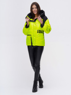 Купить оптом женскую зимнюю модную куртку салатового цвета в интернет магазине MTFORCE 22285Sl