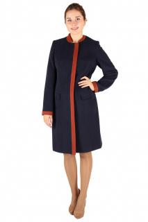 Купить оптом пальто женское темно-синего цвета 288TS в интернет магазине MTFORCE.RU