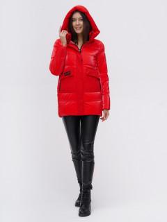 Купить оптом женскую зимнюю модную куртку красного цвета в интернет магазине MTFORCE 22291Kr