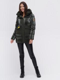 Купить оптом женскую зимнюю модную куртку болотного цвета в интернет магазине MTFORCE 22291Bt