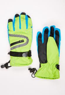 Купить оптом перчатки горнолыжные подростковые для мальчика салатового цвета 317Sl в интернет магазине MTFORCE.RU