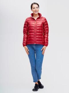 Купить оптом женскую зимний пуховик еврозима красного цвета в интернет магазине MTFORCE 32120Kr