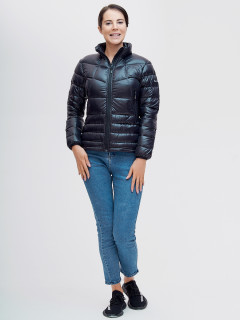 Купить оптом женскую зимний пуховик еврозима черного цвета в интернет магазине MTFORCE 32121Ch