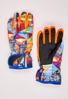 Купить оптом перчатки горнолыжные подростковые для девочки оранжевого цвета 329O в интернет магазине MTFORCE.RU