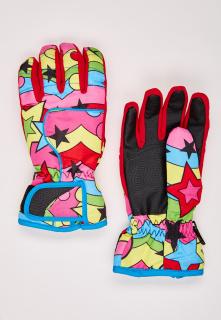 Купить оптом перчатки горнолыжные подростковые для девочки красного цвета 329Kr в интернет магазине MTFORCE.RU