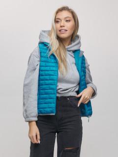 Купить оптом жилетка женскую стеганную утепленная синего цвета 33311S в интернет магазине MTFORCE.RU
