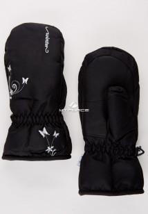 Купить оптом рукавицы зимние подростковые для девочки черного цвета 344Ch в интернет магазине MTFORCE.RU