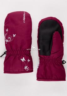 Купить оптом рукавицы зимние подростковые для девочки бордового цвета 344Bo в интернет магазине MTFORCE.RU