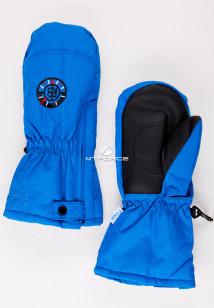 Купить оптом рукавицы зимние детские синего цвета 357S в интернет магазине MTFORCE.RU