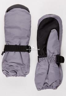 Купить оптом рукавицы зимние детские однотонные серого цвета 377Sr в интернет магазине MTFORCE.RU