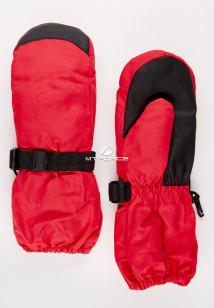 Купить оптом рукавицы зимние детские однотонные красного цвета 377Kr в интернет магазине MTFORCE.RU