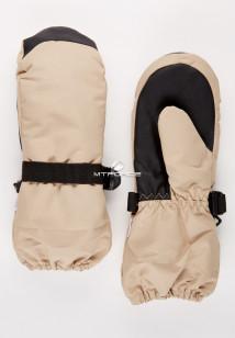 Купить оптом рукавицы зимние детские однотонные бежевого цвета 377B в интернет магазине MTFORCE.RU