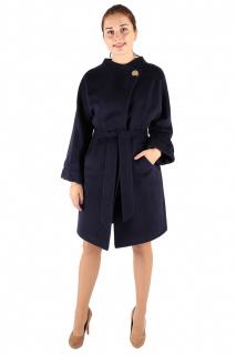 Купить оптом пальто женское темно-синего цвета 380TS в интернет магазине MTFORCE.RU