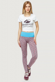 Купить оптом брюки легинсы женские розового цвета 3907R  в интернет магазине MTFORCE.RU