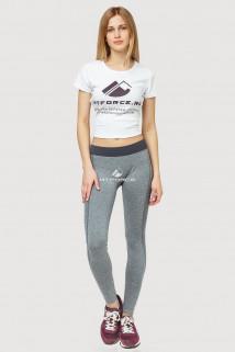 Купить оптом брюки легинсы женские серого цвета 3917Sr  в интернет магазине MTFORCE.RU