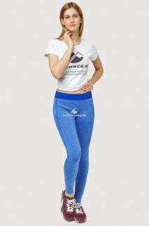 Купить оптом брюки легинсы женские синего цвета 3917S  в интернет магазине MTFORCE.RU