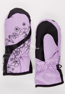 Купить оптом рукавицы зимние подростковые для девочки фиолетового цвета 392F в интернет магазине MTFORCE.RU