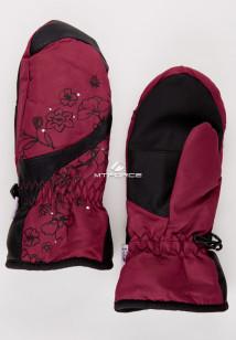 Купить оптом рукавицы зимние подростковые для девочки бордового цвета 392Bo в интернет магазине MTFORCE.RU