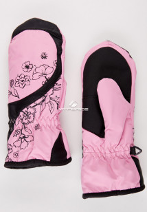 Купить оптом рукавицы зимние подростковые для девочки розового цвета 392R в интернет магазине MTFORCE.RU
