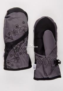 Купить оптом рукавицы зимние подростковые для девочки темно-серого цвета 392TC в интернет магазине MTFORCE.RU