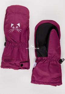 Купить оптом рукавицы зимние детские бордового цвета 396Bo в интернет магазине MTFORCE.RU