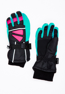 Горнолыжные перчатки подростковые для мальчика зимние бирюзового цвета купить оптом в интернет магазине MTFORCE 449Br