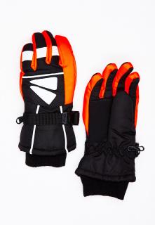 Горнолыжные перчатки подростковые для мальчика зимние оранжевого цвета купить оптом в интернет магазине MTFORCE 449O