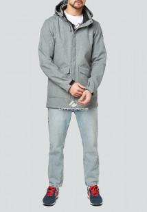 Купить оптом мужскую осеннюю весеннюю парку softshell серого цвета в интернет магазине MTFORCE 1904Sr