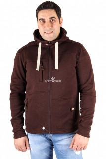 Купить оптом толстовка мужская утепленной вязки коричневого цвета 537K в интернет магазине MTFORCE.RU
