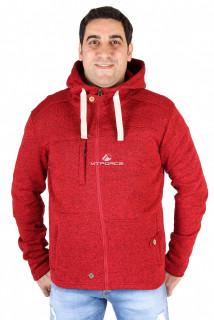 Купить оптом толстовка мужская утепленной вязки красного цвета 537Kr в интернет магазине MTFORCE.RU