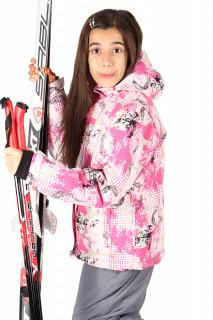 Купить оптом куртка горнолыжная подростковая для девочки бежевого цвета 548-1B в интернет магазине MTFORCE.RU