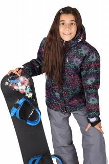 Купить оптом куртка горнолыжная подростковая для девочки черного цвета 549-1Ch в интернет магазине MTFORCE.RU