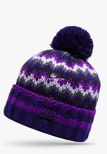 Купить оптом шапки зимние фиолетового цвета 5543F  в интернет магазине MTFORCE.RU