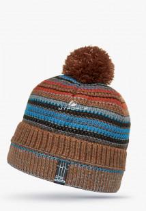 Купить оптом шапки зимние коричневого цвета 5544K в интернет магазине MTFORCE.RU